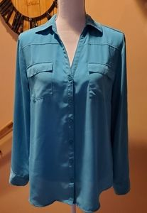 New York & Company High-Low Teal Blouse
